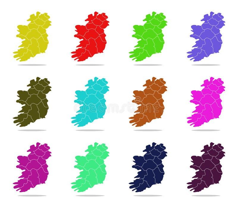 Irland-Karte mit Regionen stock abbildung