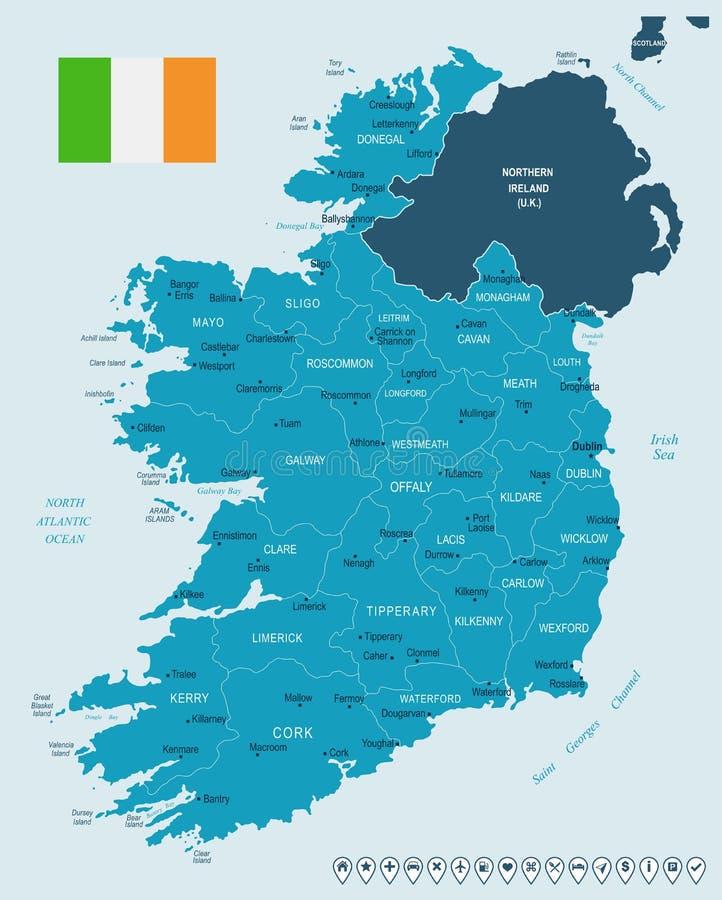 Irland - Karte und Flagge - ausführliche Vektor-Illustration lizenzfreie abbildung