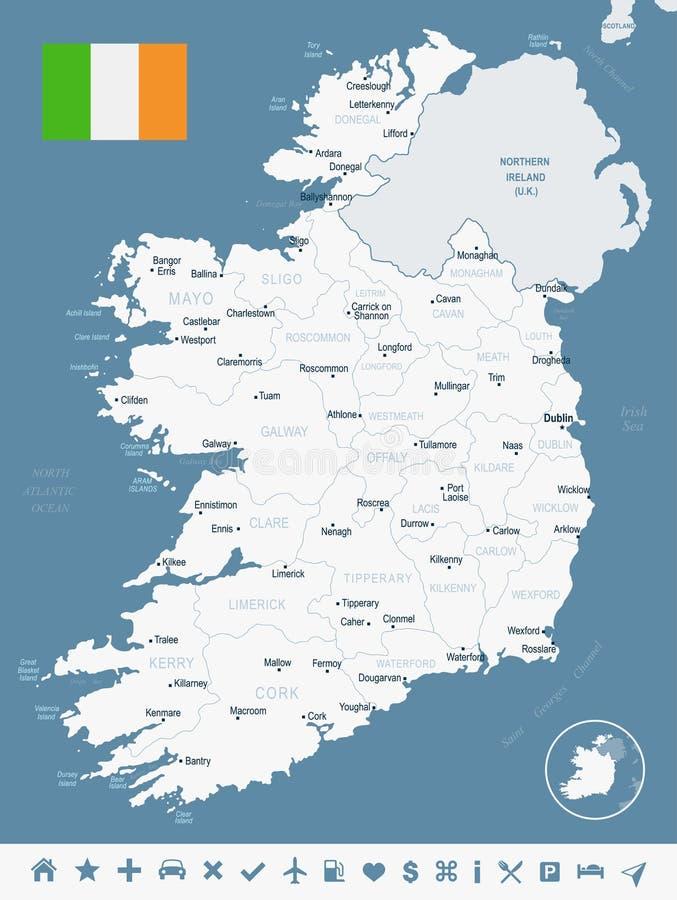 Irland - Karte und Flagge ausführliche Vektor-Illustration lizenzfreie abbildung