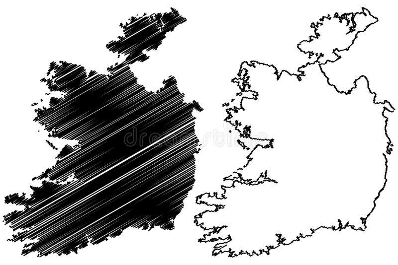 Irland-Kartenvektor stock abbildung