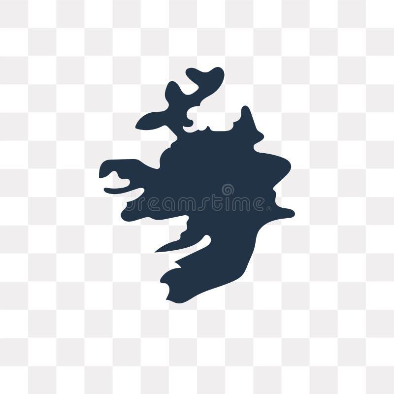 Irland-Kartenvektorikone lokalisiert auf transparentem Hintergrund, Irel stock abbildung