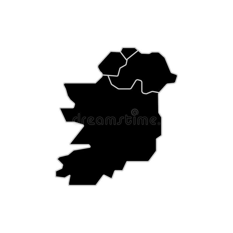 Irland-Kartenzeichen Schwarze gefüllte einfache Ikone des Zeichens lizenzfreie abbildung