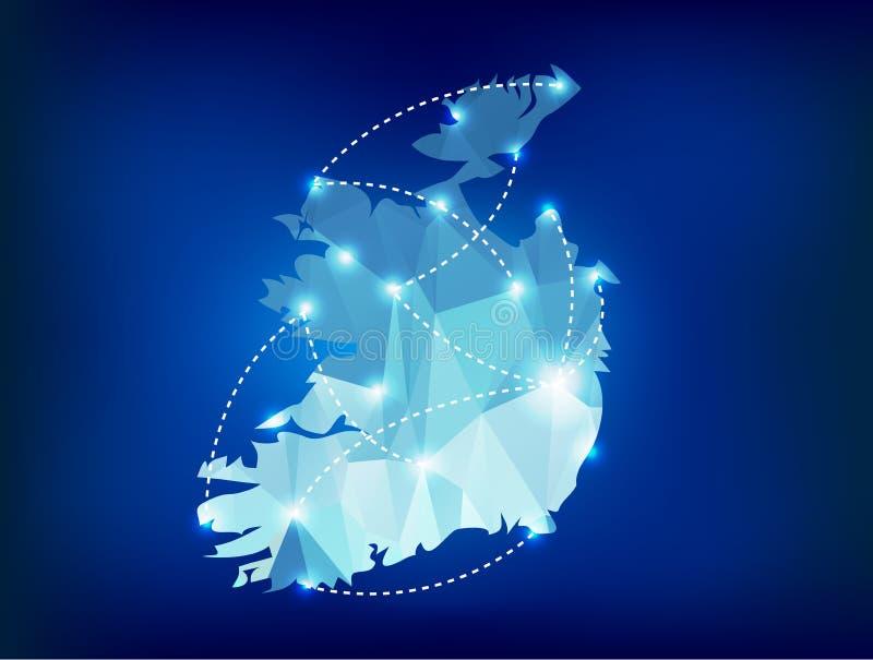 Irland-Landkarte polygonal mit Scheinwerferlichtwinkel des leistungshebels lizenzfreie abbildung