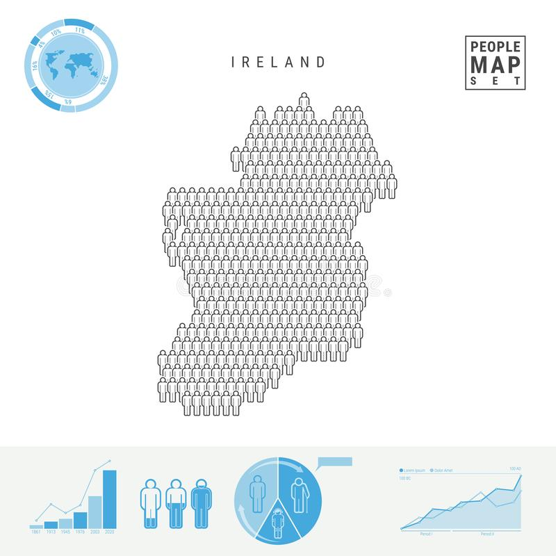 Irland-Leute-Ikonen-Karte Stilisiertes Vektor-Schattenbild von Irland Bevölkerungszuwachs und Altern Infographics stock abbildung