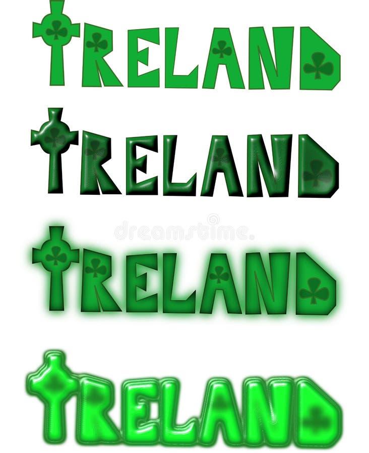 Irland textuppsättning med det celtic korset royaltyfri illustrationer