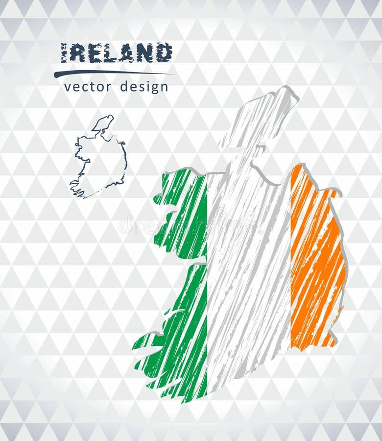 Irland-Vektorkarte mit dem Flaggeninnere lokalisiert auf einem weißen Hintergrund Gezeichnete Illustration der Skizzenkreide Hand lizenzfreie abbildung