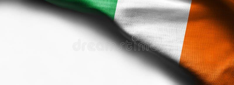 Irland vinkande flagga på vit bakgrund - höger bästa hörnflagga arkivbild