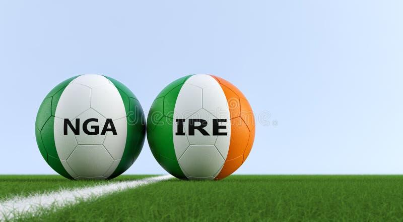 Irland vs Nigeria fotbollsmatch - fotbollbollar i nationella färger för irländare och Nigerias på ett fotbollfält stock illustrationer