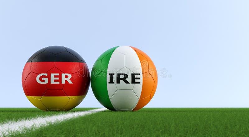 Irland vs Tysklandfotbollsmatch - fotbollbollar i nationella färger för irländare och Tyskland på ett fotbollfält vektor illustrationer
