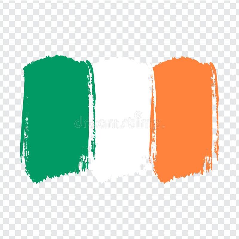 Irlanda da bandeira, fundo do curso da escova Bandeira a República da Irlanda no fundo transparente Textura pintada ilustração royalty free