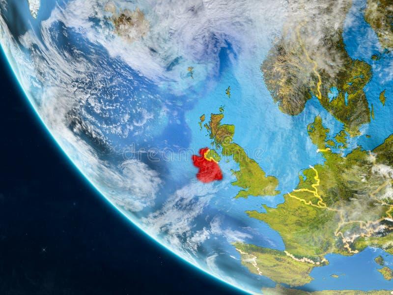 Irlanda del espacio en la tierra stock de ilustración