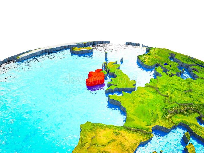 Irlanda en la tierra 3D stock de ilustración