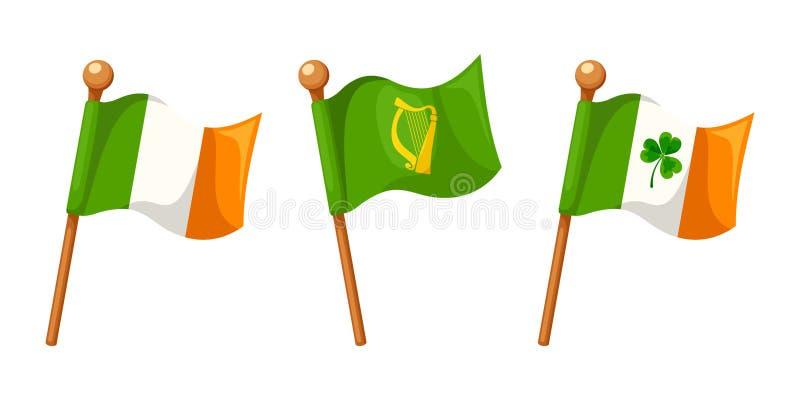 Irlandczyk flaga odizolowywać na bielu również zwrócić corel ilustracji wektora ilustracja wektor