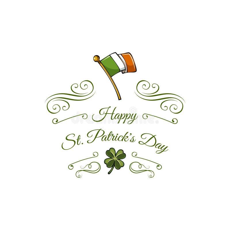 Irlandczyk flaga z Shamrock Patricks dnia kartka z pozdrowieniami również zwrócić corel ilustracji wektora ilustracja wektor