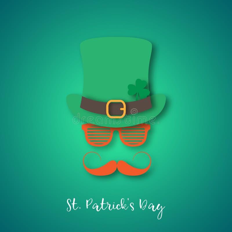 Irlandczyk jest ubranym kapelusz i szkła z imbirowym wąsy ilustracji