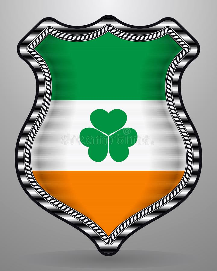 Irlandia flaga z Shamrock Wektorowa odznaka i ikona ilustracja wektor