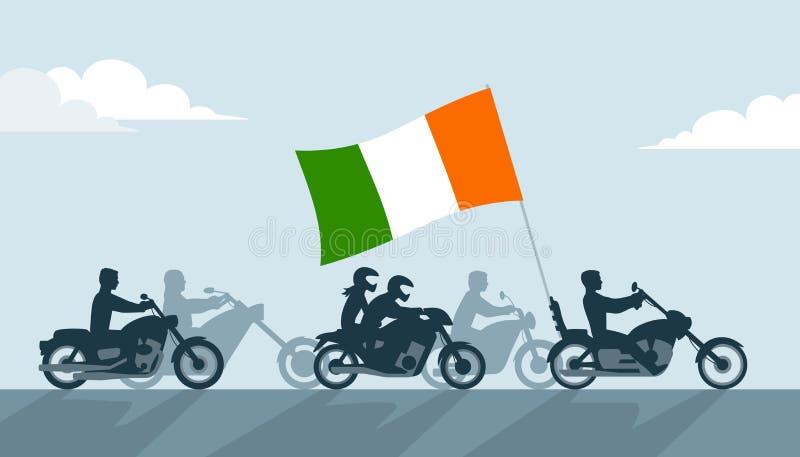 Irlandia rowerzyści na motocyklach z flaga państowowa royalty ilustracja