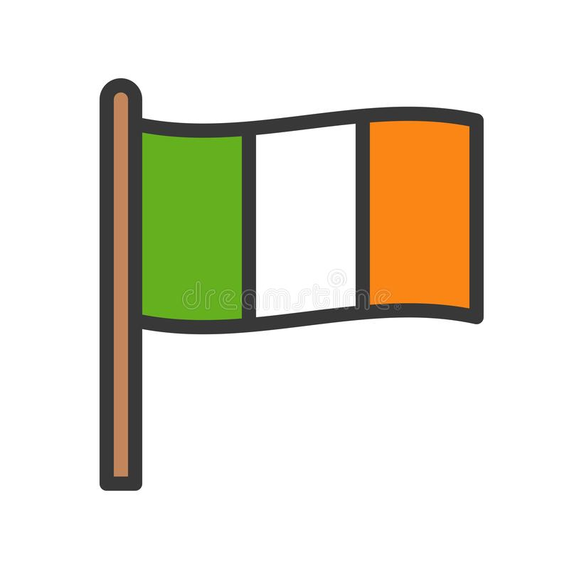 Irlandia zaznacza wektor, uczta Świątobliwy Patrick wypełniający ikona editable kontur ilustracja wektor