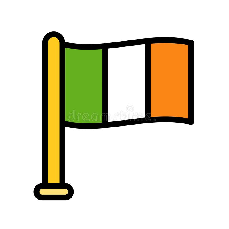 Irlandia zaznacza wektor, uczta Świątobliwy Patrick wypełniający ikona editable kontur royalty ilustracja