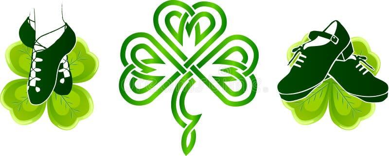 Irlandzcy tanów buty na zielonych koniczynach ilustracja wektor