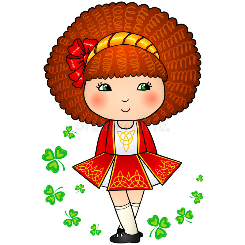 Irlandzka dancingowa dziewczyna w czerwonej tradycyjnej sukni royalty ilustracja