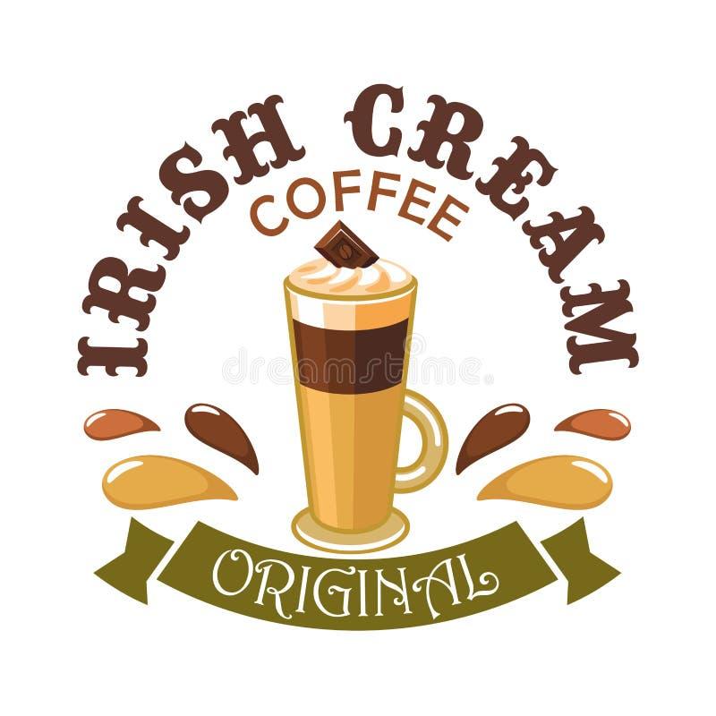 Irlandzka kremowa kawa Cukierniany emblemat royalty ilustracja