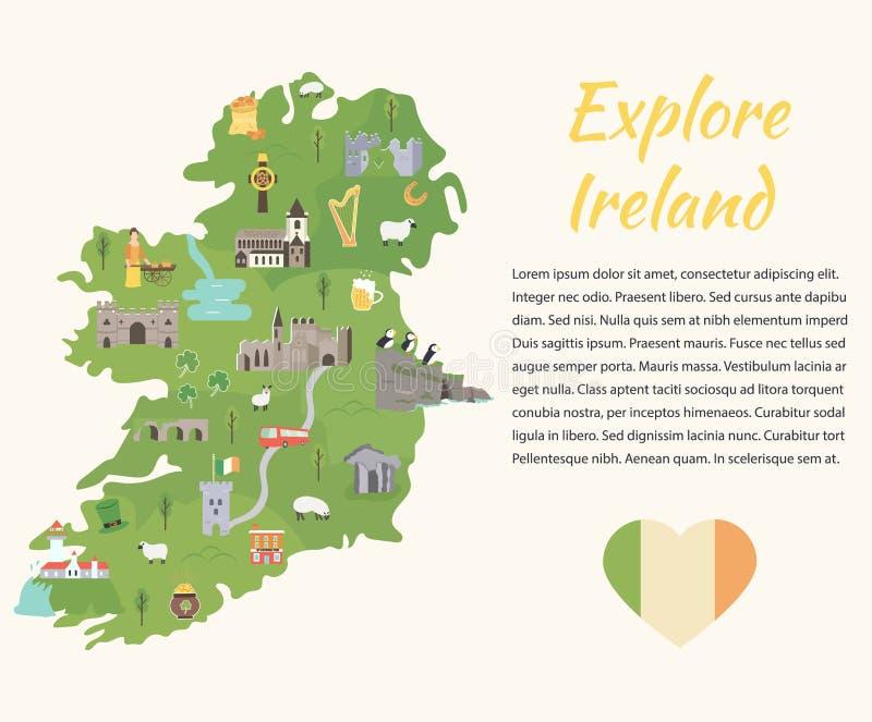 Irlandzka mapa z symbolami Irlandia, miejsca przeznaczenia ilustracja wektor