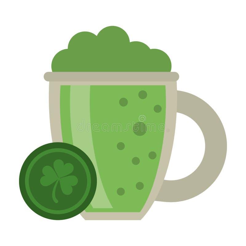 Irlandzka piwna filiżanka i moneta ilustracji