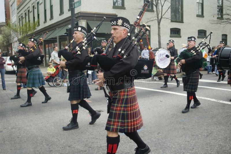 irlandzki bagpipers marsz zdjęcia royalty free