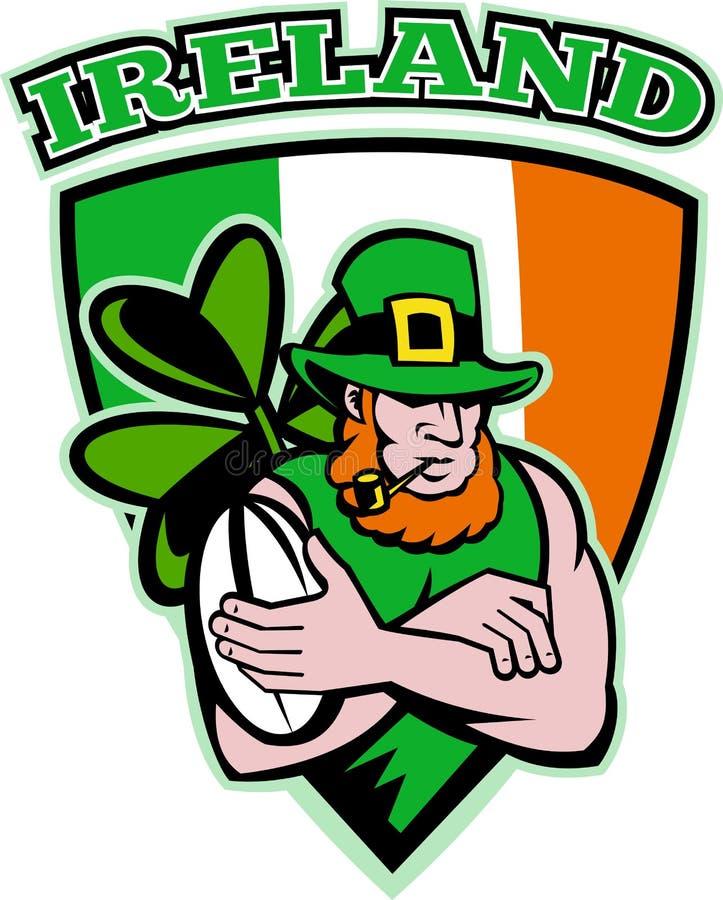 irlandzki leprechaun gracza rugby royalty ilustracja