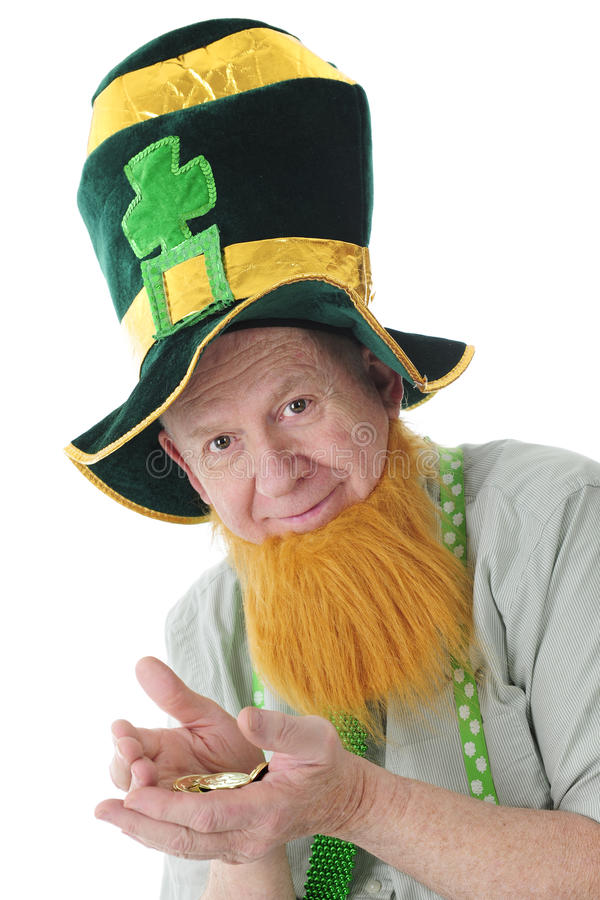 Irlandzki Stary Szczęśliwy z Irlandzkim złotem fotografia stock