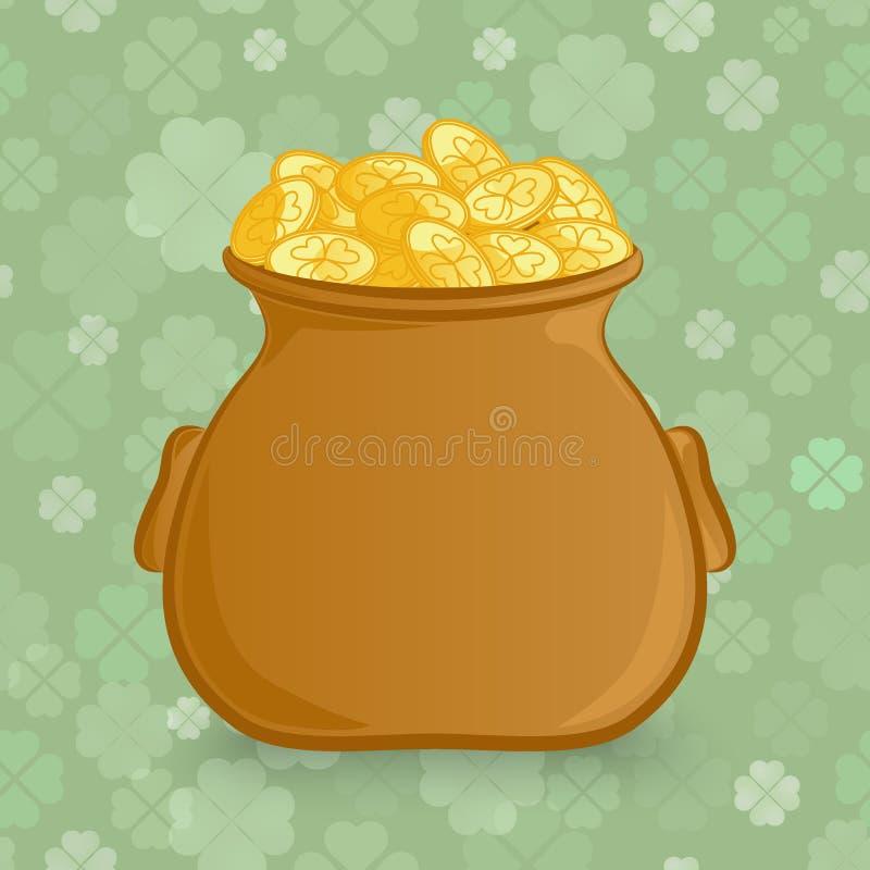 Irlandzki wakacje St Patrick ` s dnia temat Kreskówka wektoru ikona Leprechaun ` s garnek złoto na bezszwowym wzorze ilustracji