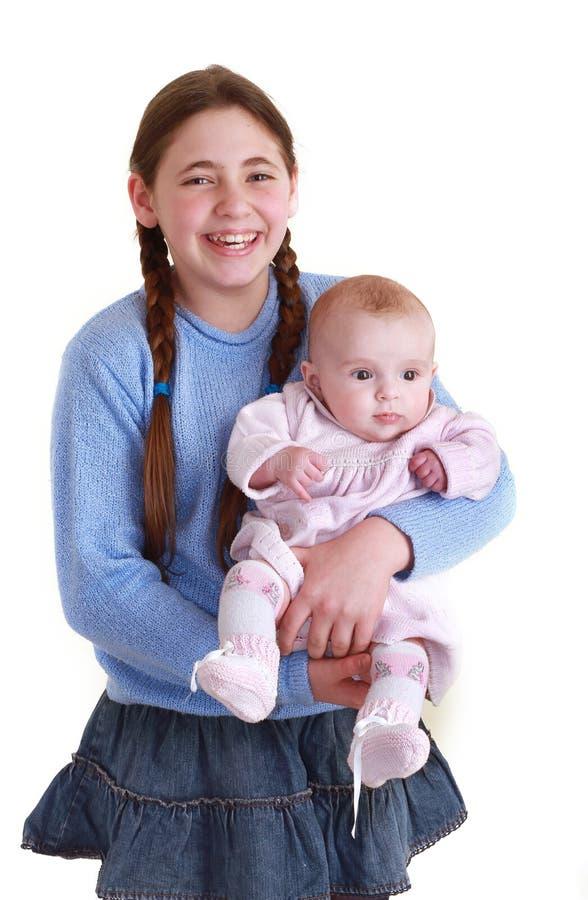 Irmã e bebê foto de stock royalty free