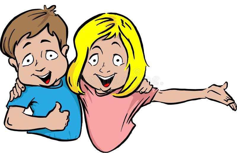Irmão e irmã ilustração royalty free