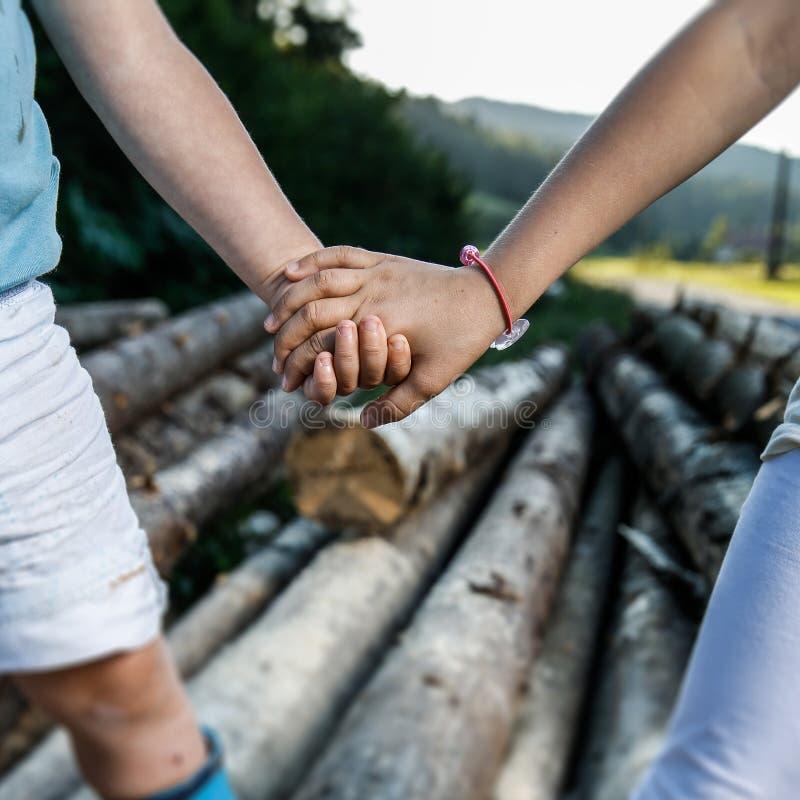 Irmão e irmã que guardam as mãos, apreciando a natureza imagens de stock