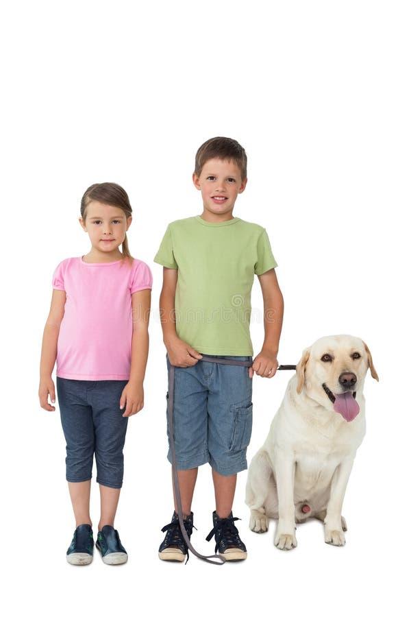 Irmãos bonitos que sorriem na câmera com seu cão de Labrador fotos de stock