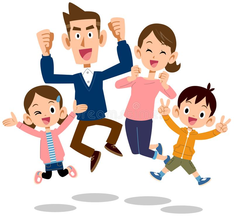 Irmãos do pai e da criança da família felizes saltar ilustração stock