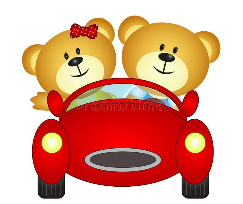 Irmãos do urso que jogam com seu brinquedo do carro ilustração royalty free