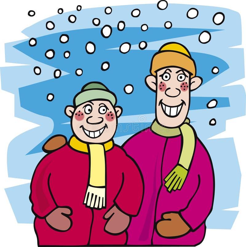 Irmãos e neve de miúdo ilustração stock