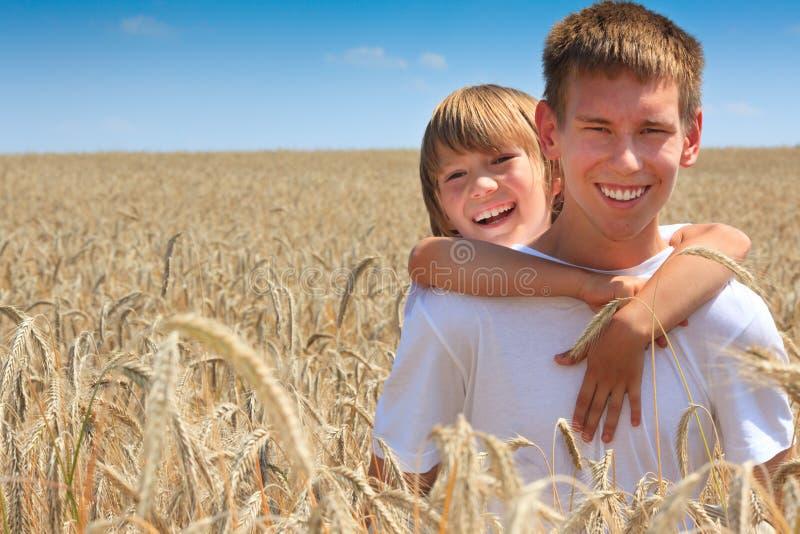 Irmãos felizes no campo de milho imagem de stock