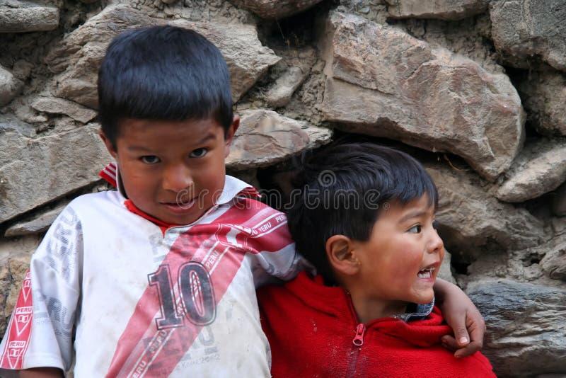 Irmãos peruanos foto de stock