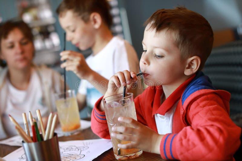 Irmãos que bebem a limonada foto de stock royalty free