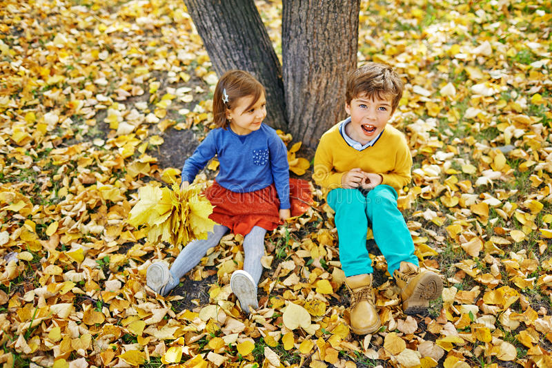 Irmãos que jogam em Autumn Park foto de stock royalty free