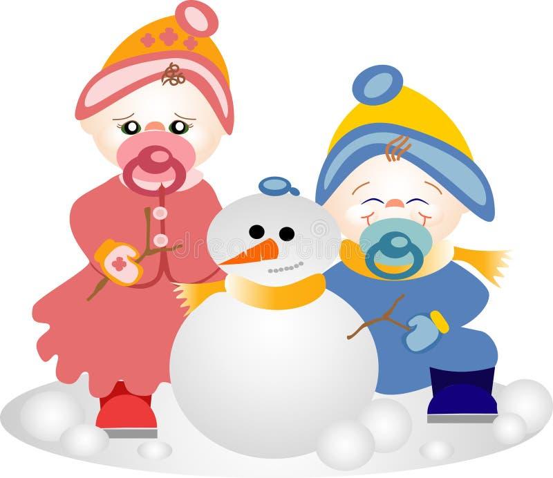 Irmãos que jogam na neve ilustração royalty free