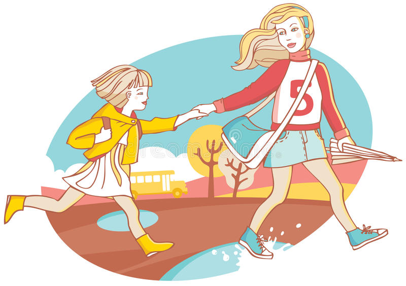 Irmãs ilustração royalty free