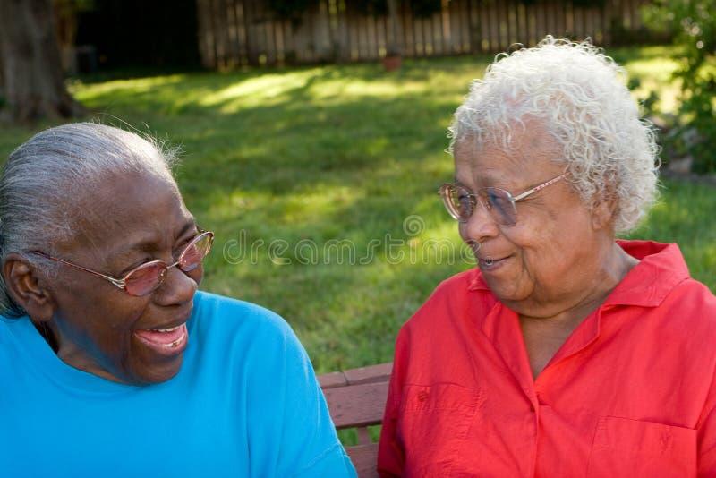 Irmãs afro-americanos maduras felizes que riem e que sorriem fotografia de stock