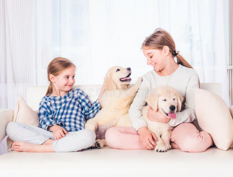 Irmãs de sorriso que sentam-se com cachorrinhos fotografia de stock