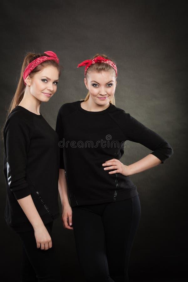 Irmãs loving no pino retro acima do stylization imagem de stock