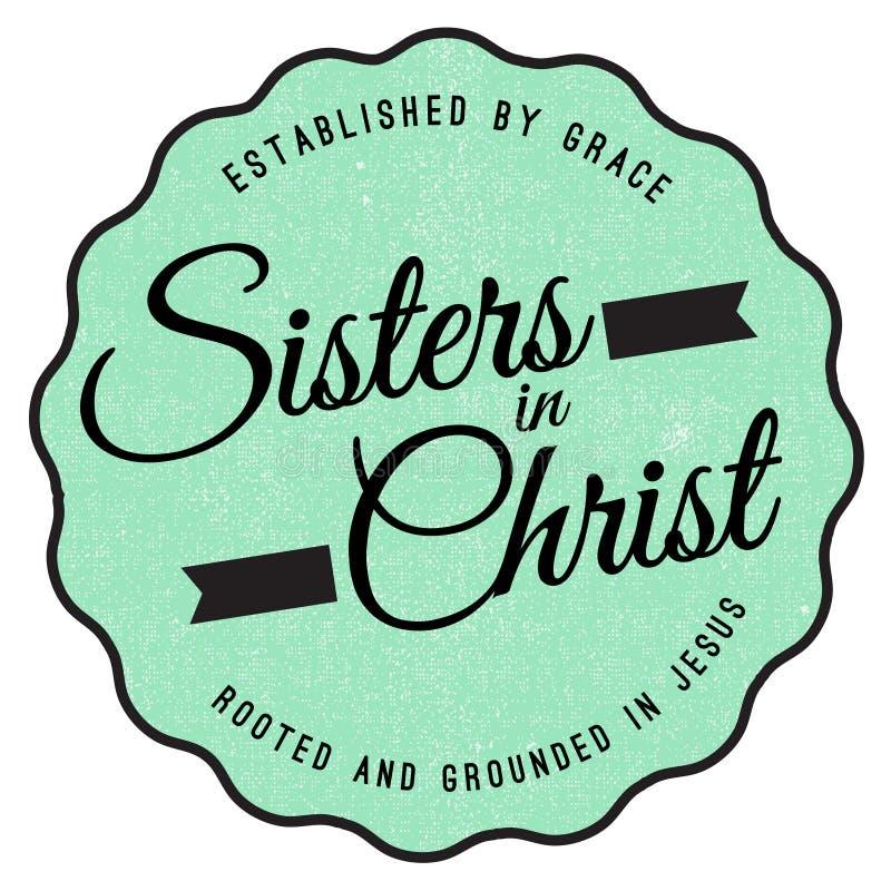 Irmãs no emblema de Cristo ilustração do vetor