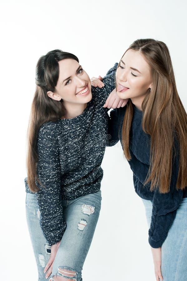 Irmãs novas e bonitas na amizade fotografia de stock